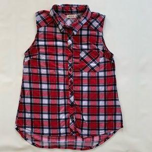 Ardene sleeveless button down plaid shirt